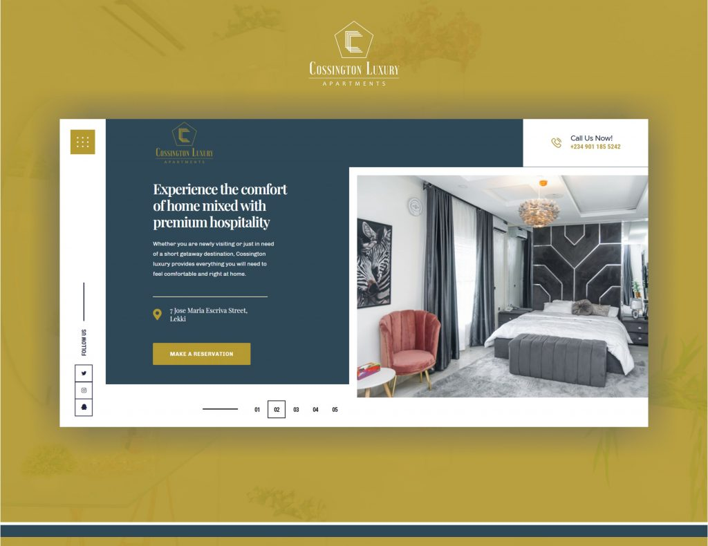 screenshot of cossington website