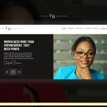 screenshot of funke baruwa website designed by swish solutions